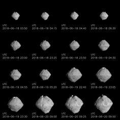 These views of asteroid Ryugu were taken June 18 through June 20 by the Hayabusa 2 spacecraft's telescopic optical navigation camera, showing the rotating object as the probe approached. Credit: JAXA, University of Tokyo, Koichi University, Rikkyo University, Nagoya University, Chiba Institute of Technology, Meiji University, University of Aizu and AIST.
