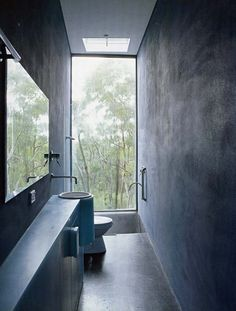 narrow bathroom, floor to ceiling window. the light!