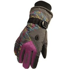 Women Men Winter Snow Ski Skiing Hiking Snowboard Sports Warm Gloves Men Purple