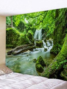rainforest river wall Forest stream lake print on canvas framed 5 panel print