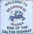 The northern end of the Pan-American Highway at Deadhorse, Alaska North To Alaska, Visit Alaska, Alaska Usa, Pan American Highway, Dalton Highway, Prudhoe Bay, Adventure Tattoo, Vintage Posters, Names