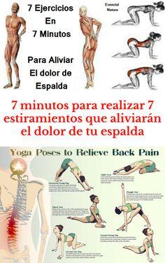 7 minutos para realizar 7 estiramientos que aliviarán el dolor de tu espalda. #Tips #Life #vida #Salud  #Remedios #Tips4Lives  #DIY  #Bienestar #Estiramientos #DolorDeEspalda Workout Drinks, Chakras, Health Fitness, Back Pain Exercises, Stretching Exercises, Stretches, Fitness Exercises, Exercise Workouts, Chakra