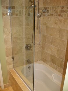 "Frameless tub shower door, model 6008SHR: Semi-Frameless|60"" high