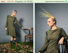 A Line #Dress / Green #Trapeze #Dress / #Draped #Dress/ 1920s #Dress / Military styl,  View more on the LINK: http://www.zeppy.io/product/gb/3/253045581/