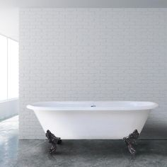 """72"""" Magnolia Cast Iron Double-Ended Roll-Top Clawfoot Tub - No Faucet Holes"""