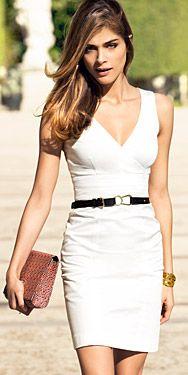 White summer dress with black belt  #white #dress #summer #belt