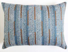 Nomadic Global Striped Blue Decor Lumbar Pillow for living room - indigo, navy, and medium blue shades #indigo #pillowcovers #livingroomdecorations