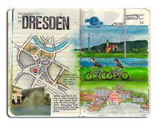 Travel Journal to Dresden #art #sketch #drawing #Watercolor #map #cute