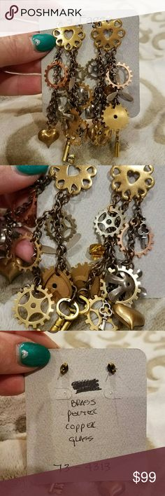 """Steampunk Earrings ~ Artisan made, Unique Steampunk Earrings,  Brand New! These earrings were made by an artist in Park City. They are one-of-a-kind,  unique & very special. Made from genuine brass, pewter, copper and glass components.  Incredibly lightweight.  Approximately 4"""" in length that gently sways when the wearer moves.  So special! Park City, Utah Artisan Jewelry Earrings"""