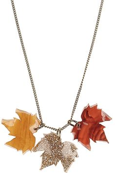 Autumn has arrived! Take style tips from overgrown woodlands with the sparkling Fallen Leaves Necklace.