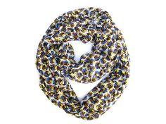 Flower and Polka Dot Infinity Scarf, Eternity Scarf, Tube Scarf, Blue, Yellow, Brown, White #etsy #poepoepurses #poepoe #scarf #scarves #infinityscarf #backtoschool #backtoschoolscarf