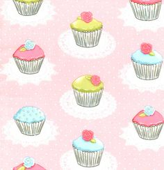 In Stock: sweetest little cupcake fabric you ever saw. Complete with a teensy bit o glitter! #fabric #quilting #sewing #diy