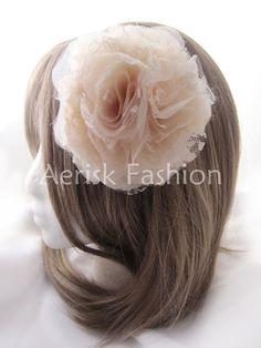 Wedding flower hair clip  Ecru Rose bloom  by CastleMemories, $19.00