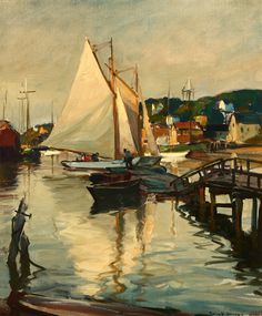 Lot# 062 Emile A. Gruppe (1896-1978 Gloucester, MA) Sailboat in Gloucester Harbor, oil on canvas, 30'' H x 25'' W, est: $5000/7000 *Price Realized: $5,400.00