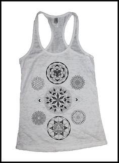 Women's Seven Chakras Mandala Tank Colab Design with Sacred Geometry Tattoo Artist Corey Divine on Etsy, $20.00