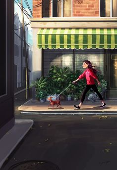 Illustrator Yaoyao Ma Van As. Yaoyao Ma Van As, or shortly YaoYao art director, painter, illustrator, and occasional animator. For more view website Me And My Dog, Girl And Dog, Alone Art, Dog Illustration, Website Illustration, Digital Art Girl, Anime Art Girl, Dog Art, Aesthetic Art