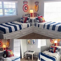Twin boys bedroom - Now this is a great use of space! How awesome are the drawers under the bed and shelves at the head of the bed ! Shared Boys Rooms, Shared Bedrooms, Boy And Girl Shared Bedroom, Boys Bedroom Decor, Boys Bunk Bed Room Ideas, Kids Bedroom Boys, Bunk Rooms, Creative Kids Rooms, Kids Room Design