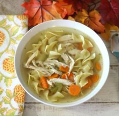 A traditional slow-cooked homemade chicken noodle soup. Made with a whole chicken, vegetables and egg noodles.