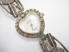Marcasite Watch, Vintage Watch, Sterling Watch, Pedre Watch, Heart Watch, Vintage Sterling Watch, Vintage Watch, #1964 WORKS!! by JessiesJewelryBoxTN on Etsy