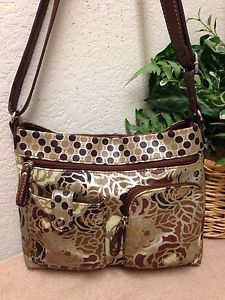 Relic Gold Floral Faux Leather Messenger Crossbody Bag Shoulder Handbag  VGUC  cb0bcd6afe8e2