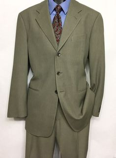 GEORGIO ARMANI Mens Taupe Suit 42R | 100% Wool Italian 2pc | 38X26 Pants #ARMANI #ThreeButton