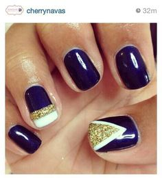cherry canvas navy nails with gold & white details