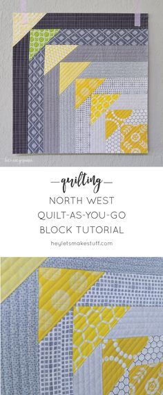Sew Quilt This fun quilt-as-you-go block uses foundation piecing to create flying geese. A fun quilting technique. - This fun quilt-as-you-go block uses foundation piecing to create flying geese. A fun quilting technique. Modern Quilt Blocks, Quilt Block Patterns, Pattern Blocks, Modern Quilting, Patchwork Quilting, Pattern Sewing, Quilting Fabric, Pants Pattern, Quilting Tips