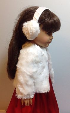 Fits American Girl Doll Winter Coat Fits Like American Girl Doll Clothes 18 Inch Doll Clothes Samantha will stay warm and cozy in this cute jacket and ear muffs! The jacket is made of soft white bunny fur and is lined in white satin. The ear muffs are made from the same soft material
