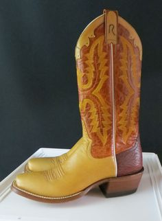 ROD PATRICK BOOTS Ladies Rodeo Western Tan  Leather Brown Shafts 9 AAA New our prices are WAY BELOW RETAIL! all JEWELRY SHIPS FREE! www.baharanchwesternwear.com baha ranch western wear ebay seller id soloedition