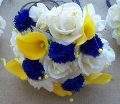 BLUE LILY WITH YELLOW ROSES | CUSTOM made to order YeLLoW and RoYaL BLue 3 Bridesmaid Bouquets aND 3 ...