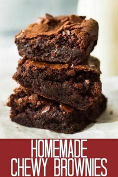 These Homemade Chewy Brownies are the BEST brownies and will replace that box mix! They are thick, chewy, and full of chocolate flavor! 13 Desserts, Delicious Desserts, Yummy Food, Delicious Dishes, Baking Recipes, Cookie Recipes, Dessert Recipes, Homemade Brownie Recipes, Easy Homemade Brownies