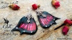 Orecchini ali fata gotica resina gothic strass nero rosso monachelle a925, by Evangela Fairy Jewelry, 13,00 € su misshobby.com