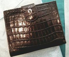 Vintage Etienne Aigner wallet.  Black Croc by HeathenHippieVintage