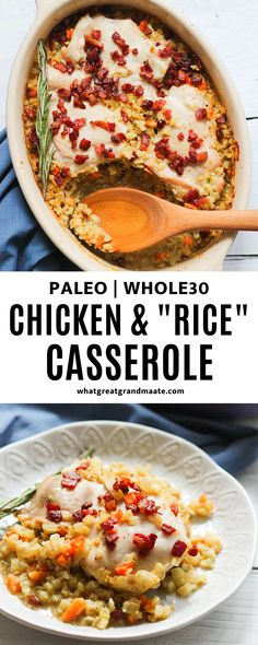 Delicious and comforting Whole30 casserole made with chicken and cauliflower rice! This grain free version of the classic comfort dish is so flavorful and great for the whole family. #paleo #whole30 #whole30casserole #comfortfood Paleo Casserole Recipes, Best Paleo Recipes, Whole 30 Recipes, Real Food Recipes, Delicious Recipes, Diet Recipes, Healthy Shredded Chicken Recipes, Paleo Chicken Recipes, Entree Recipes