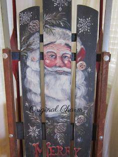 Hand Painted vintage sled SANTA CLAUS\