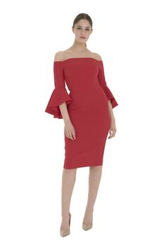 391bb39e712 The Jasmin Pencil Dress is a striking contemporary off the shoulder design  featuring oversized asymmetric fluted