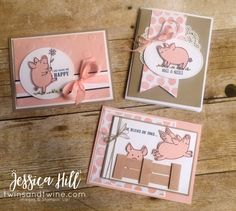 this little piggy, stampin up, powder pink basic black, online class, pigs, wood crate framelit, window sheet, whisper white, linen thread, flirty flamingo bakers twine, love, whole lot of lovely dsp, designer series paper