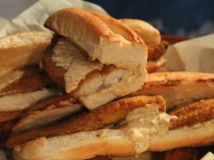 Catfish Po' Boys recipe from Claire Robinson via Food Network Catfish Po Boy Recipe, Catfish Recipes, Seafood Dishes, Seafood Recipes, Snack Recipes, Cooking Recipes, Fried Catfish, Catfish Food, Creole Cooking