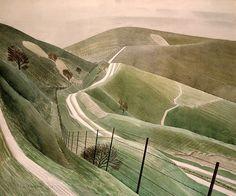 Chalk Paths by Eric Ravilious Views of the Sussex Downs Landscape Prints, Watercolor Landscape, Landscape Art, Landscape Paintings, Watercolour Painting, Encaustic Painting, Watercolours, Sussex Downs, East Sussex