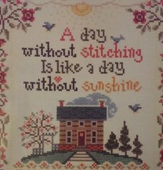 A Day Without Stitching Like Day Without Sunshine Sampler Cross Stitch Kit 15x18 #ImaginatingbySandraCozzolino