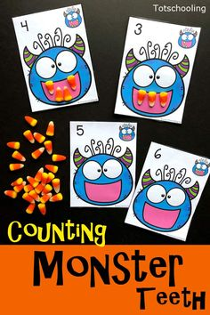 How To Produce Elementary School Much More Enjoyment Free Printable Monster Theme Counting Activity For Preschool Kids Perfect For Halloween. Use Candy Corn Or Playdough To Make The Monster's Teeth According To The Number On The Card. Holiday Activities, Toddler Activities, Preschool Activities, October Preschool Themes, Monster Activities, Preschool Learning, In Kindergarten, Preschool Crafts, Halloween Math