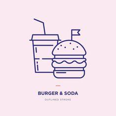 Fast food line icons set. Burger line icon Food Logo Design, Logo Food, App Design, Icon Design, Branding Design, Graphic Design Tips, Logo Design Inspiration, Burger Branding, Burger Icon
