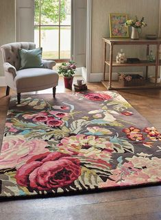 Shop for Rugs at Style Library: Stapleton Park (Colour: Rosewood) by Sanderson. Stapleton Park is an inspiring floral rug that encapsulates the intrinsic values. Floral Area Rugs, Floral Rug, Floral Design, Contemporary Rugs, Modern Rugs, Living Room Decor, Bedroom Decor, Bedroom Rugs, Living Rooms