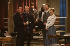 Detective Murdoch (Yannick Bisson, left) and Inspector Brackenreid (Thomas Craig, second from left) question Sophie Palmer (Erica Deutschman, right) and her fiancé Herschel Humphries (Jeremy Walmsley, second from right)