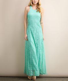Soiéblu Green Floral Lace Cross-Back Maxi Dress | zulily