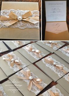 Champagne & Ivory Lace Wedding Invitation