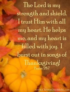 """""""The Lord is my strength and shield. I burst out in songs of Thanksgiving! Biblical Inspiration, Christian Inspiration, Bible Scriptures, Bible Quotes, Psalm 28 7, Soli Deo Gloria, Lord Is My Strength, Thanksgiving Quotes, Praise The Lords"""