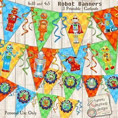 Robots Party Banner Birthday Garland :: Printable Items :: Aimee Asher Boutique