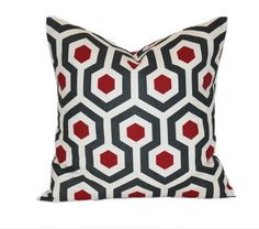 Decorative Throw Pillow - Any Size You Choose - Honeycomb Pattern Red and Gray - invisible Zipper Pillow Cover