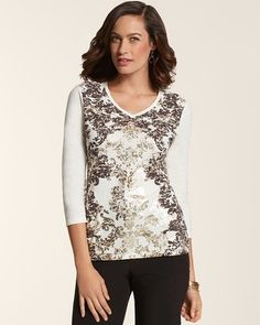 Chico's Zenergy Ollie Placed Foil Scroll Tee #chicos LIKE PATTERN